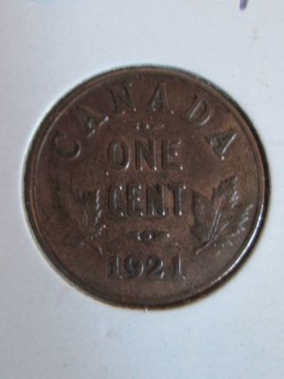 1921 Canadian Penny Coin Second Small Cent Produced Semi - Key Date photo
