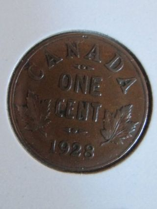 1928 Canadian Penny Coin Semi - Key Date photo