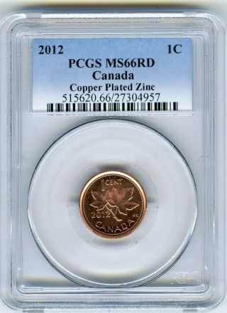 2012 Canada Cent Pcgs Ms66 Rd Non Magnetic Zinc Last Year Of Issue photo