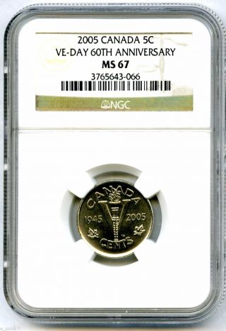 2005 Canada 5 Cent Ngc Ms67 Ve - Day 60th Anniversary Victory V Nickel Wwii Rare photo