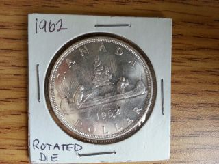 1962 Canada Silver Dollar - Rotated Die.  Grade.  See Pics. photo