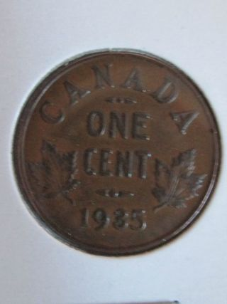1935 Canadian Penny Coin 1 Cent Coin. photo