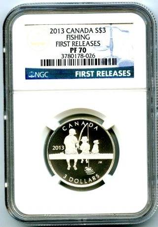 2013 Canada $3 Silver Reverse Proof Fishing Ngc Pf70 Ucam First Releases.  999 photo