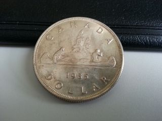 1935 Canada Silver Dollar - Top Grade.  Fwl Lustred See Pics photo