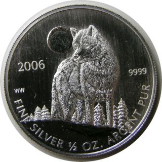 Elf Canada 1 Dollar 2006 Silver 1/2 Ounce Timber Wolf photo