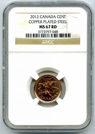 2012 Canada Cent Ngc Ms67 Rd Magnetic Steel Last Year Of Issue Rare photo