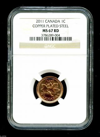 2011 Canada Cent Ngc Ms67 Certified Magnetic Steel Rare photo