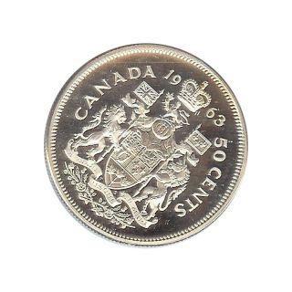 Canada - Elizabeth Ii - 50 Cent 1963 Prooflike - Silver photo