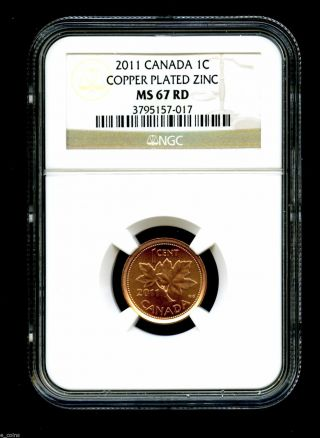 2011 Canada Cent Ngc Ms67 Certified Non Magnetic Zinc Rare photo