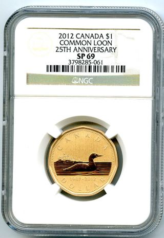 2012 Canada Frosted Loon Loonie Dollar Ngc Sp69 25th Anniversary Proof Like Rare photo