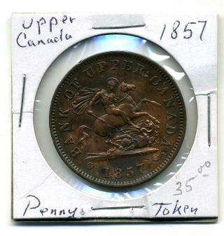 Upper Canada Penny Token 1857,  Xf photo