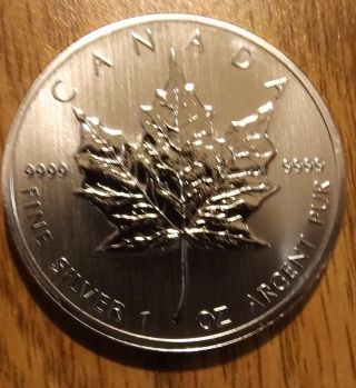 2013 Canada Silver Maple Leaf 1 Troy Oz 5 Dollar Coin Bu Uncirculated.  9999 photo