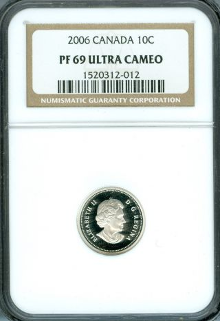 2006 Canada Silver 10 Cents Ngc Pr - 69 Ultra Heavy Cameo photo