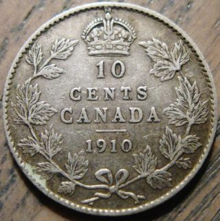Canada 1910 Ten Cent Silver Mid - Grade Details Eye Appeal 44 photo