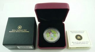 2012 Canada 25 Cents Coloured Coin - Rose - Breasted Grosbeak - Box & photo