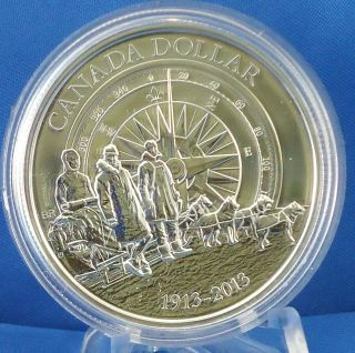 2013 100th Anniversary Canadian Arctic Expedition $1 Fine Silver Brilliant Coin photo