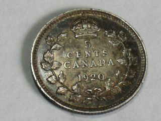1920 Canadian Five Cent Silver Coin (xf+) 5521 photo