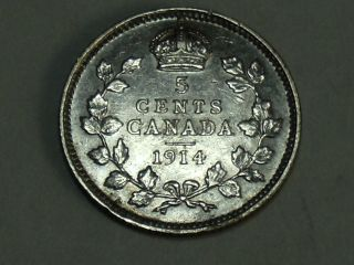 1914 Canadian Five Cent Silver Coin (au) 9935 photo