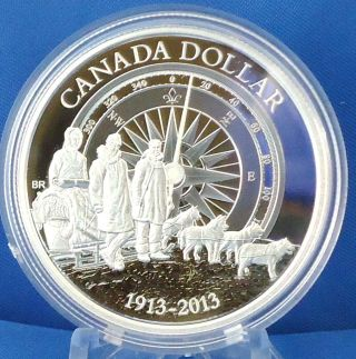 2013 100th Anniversary Of Canadian Arctic Expedition $1 Fine Silver Proof Coin photo