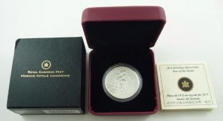 2013 Canada $10.  00 / Ten Dollars Fine Silver Coin Year Of The Snake - Box & photo