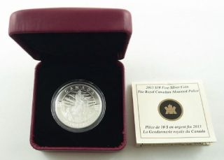 2013 Canada $10.  00 Fine Silver Coin - Royal Canadian Mounted Police - Box & photo