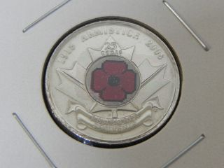 2008 Ms Unc Canadian Canada Remembrance Day Poppy Quarter Twenty Five 25 Cent photo