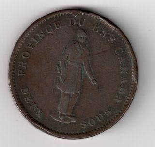 1837 1 Penny Canada Bank Token Fine Coin Rare No Period Km : Tn11 photo