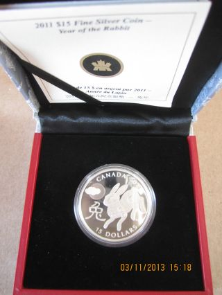 Year Of The Rabbit Canada 2011 Fine Coin Silver Proof Chinese Lunar Zodiac $15 R photo
