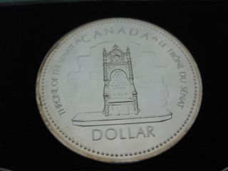 1977 Throne Of Senate Canadian Silver Coin Double Date 1952 - 77 Queen Jubilee photo