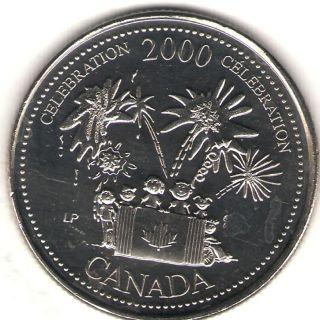 2000 Canada Uncirculated 25 Cent Commemorative Millennium Celebration Quarer photo
