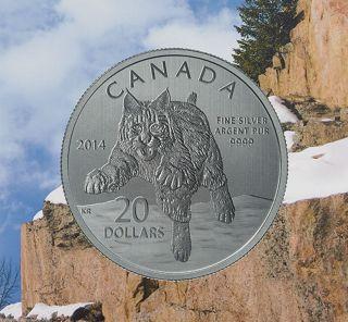 2014 $20 Bobcat Coin,  99.  99 Silver Encapsulated Coin And Certificate,  No Taxes photo