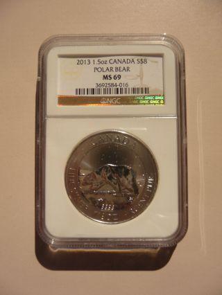 2013 1.  5 Oz Canada $8 Polar Bear.  9999 Silver Coin Graded Ms - 69 By Ngc photo