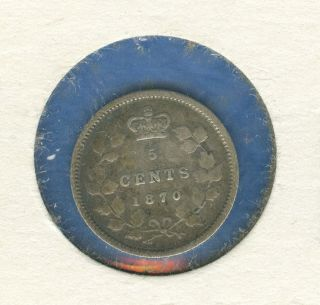 1870 Canada 5 Cent Piece 25 Degree Rotated Reverse photo