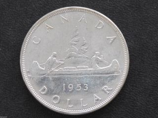 1953 Canada Silver Dollar Nsf Elizabeth Ii Canadian Coin D7124 photo