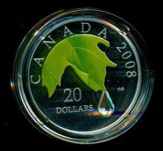Canada 2008 $20 - 99.  99% Silver Crystal Raindrop Coin photo