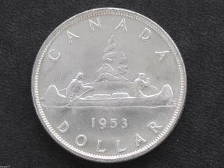 1953 Canada Silver Dollar Sf Elizabeth Ii Canadian Coin D7127 photo