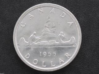 1955 Bu Canada Silver Dollar Elizabeth Ii Canadian Coin D7129 photo