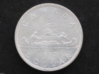 1962 Bu Canada Silver Dollar Elizabeth Ii Canadian Coin D7133 photo