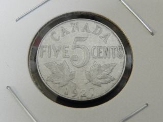 1927 Vg Canadian Canada George V Maple Leaves Design Nickel Five 5 Cents photo