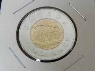 2010 Ms Unc Canadian Canada Polar Bear Toonie Two $2 Dollar 16 Serrations photo