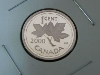 2000 Proof Unc Canadian Canada Maple Leaf Elizabeth Ii Penny One 1 Cent photo