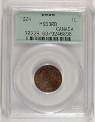 1924 George V Small Cent Ms - 63 Pop 10 - Key Date photo