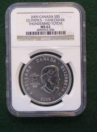 2009 Canada $5 Olympics - Vancouver Thunderbird Totem Ngc Ms62; W/ Privy photo