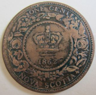 1862 Nova Scotia Large Cent Coin.  Key Date (victoria Reign Coin) (c199) photo