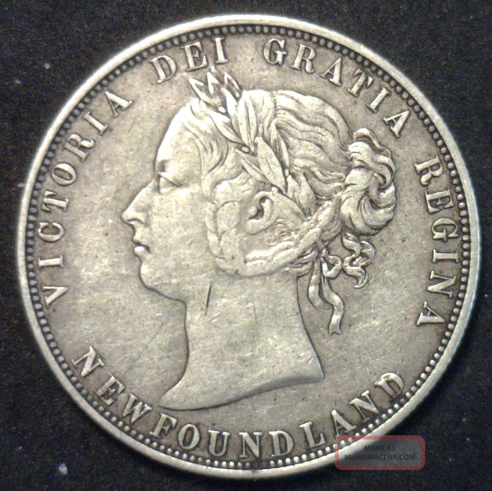 1874 Newfoundland 50 Cents Rare Grade Silver Coin Km 6