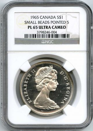 1965 Ngc Pl65 Ultra Cameo Canada Silver $1 Dollar Small Beads Pointed 5 photo