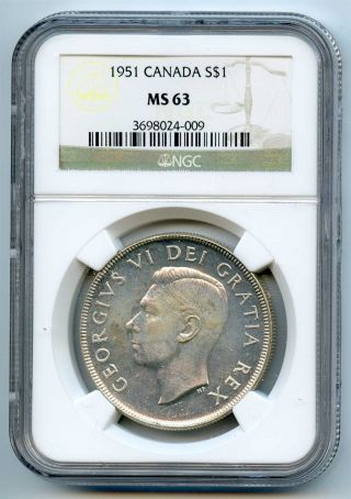 1951 Ngc Ms63 Canada Silver $1 Dollar photo
