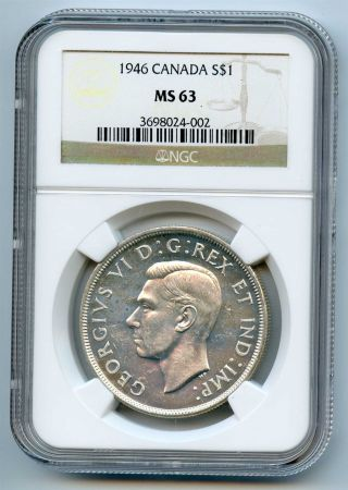 1946 Ngc Ms63 Canada Silver $1 Dollar photo