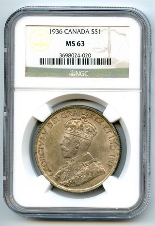 1936 Ngc Ms63 Canada Silver $1 Dollar photo