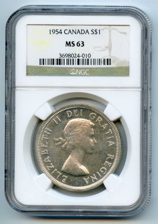 1954 Ngc Ms63 Canada Silver $1 Dollar photo